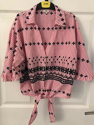 Girls Pink/White Striped River Island Flared Sleeve Gypsy Type Top - Age 8yrs
