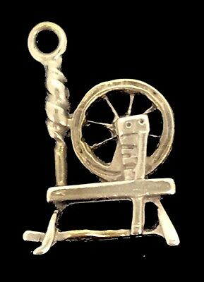 Antique Pendant Fob Charm Sewing Spinning Wheel Adorable Sleeping Beauty Dainty