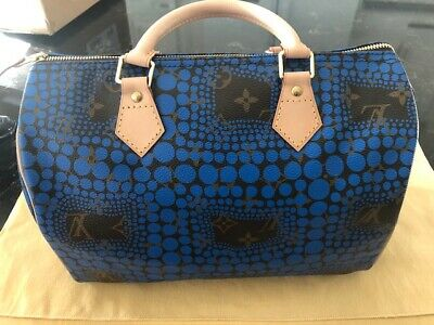 NEW LOUIS VUITTON YAYOI KUSAMA France SPEEDY BAG BLUE BLACK