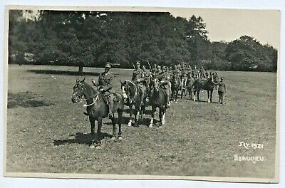 1921 Rp Postcard Mounted British Horse Soldiers  Manoeuvres Braview England H18