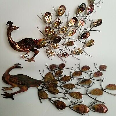 Pair Peacocks Mid Century tin wire wall art stamped Hong Kong 12 inch copper