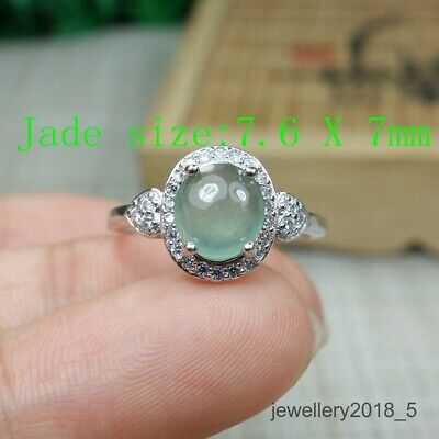 Certified Icy Light green 100% Natural A jadeite jade Ring 戒指(Free size)
