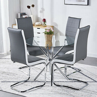 Dining Table and 4 Chairs Set Round Glass Top Faux Leather Modern Furniture Home