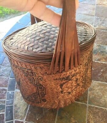 Antique Vintage Old Asian Hand Woven Chinese Basket Lidded/sewing/wedding