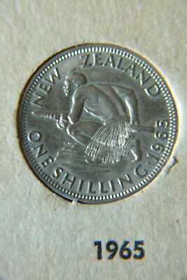 1965 New Zealand Circulated One Shilling Coin.