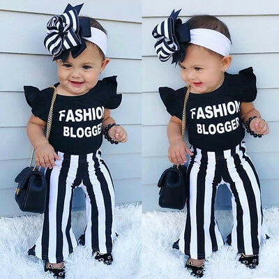 USA Kids Baby Girls Top T-shirt + Flared Striped Pants Leggings Clothes Outfits