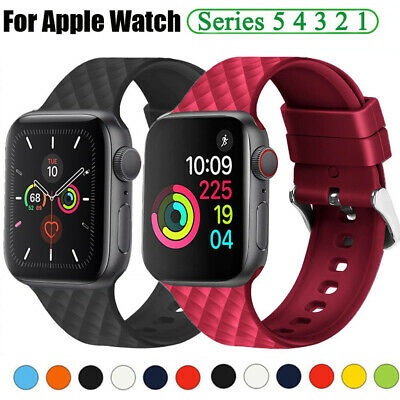38 40 42 44mm Silicone Sports iWatch Band Strap for Apple Watch 5 4 3 2 1 Bands