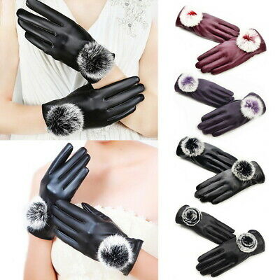PU Faux Leather Gloves Add Wool Keep Snow Ski Outdoor Windproof Cold-Proof Warm