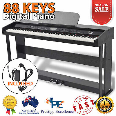 Classic 88 Key Electronic Digital Music Piano Keyboard 3 Pedals with Stand Black