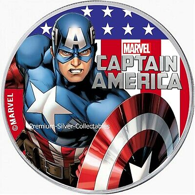 2019 Silver 1 oz Tuvalu Captain America   ~~ fresh from mint roll ~~  in stock