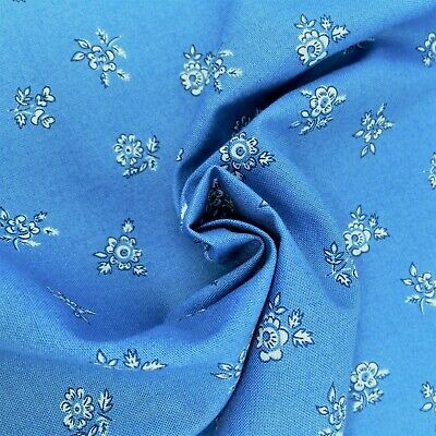 Liberty fabric, Abbeywood, blue white floral, ditsy quilting cotton, Flower Show