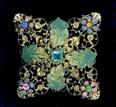 Antique Filigree Brooch Colourful Flowers Glass Stones Pin C1930