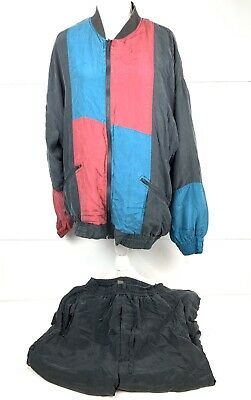 Vintage 90s Color Block Tracksuit Jacket/Pants Set Silk Mens Sz L Multicolor