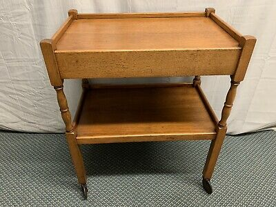 Antique Vintage Oak Tea cart Rolling Table Trolley With Drawer