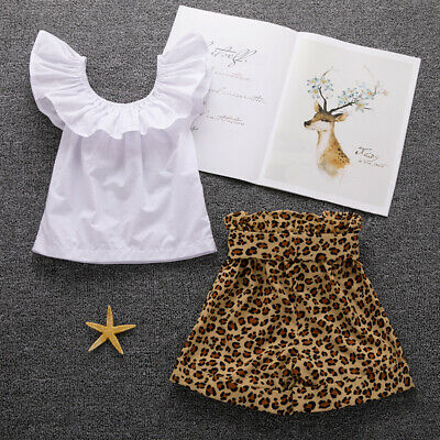 Toddler Kids Baby Girl Tops Leopard Print Pants Shorts 2Pcs Outfits Clothes 1-
