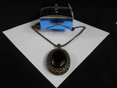 Avon Lovely London Long Necklace Deep Red Oval Pendant New Old Stock With Box
