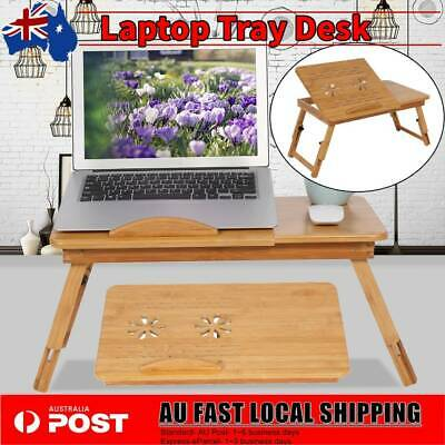 Multi Function Bamboo Laptop Bed Desk Table Foldable Cooling Holder Tray Stand