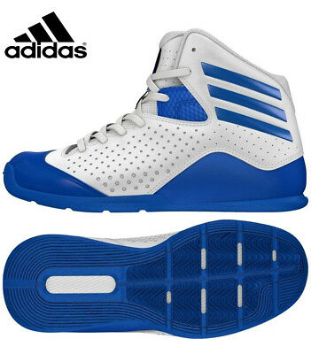 ADIDAS KIDS BOYS GIRLS 'NXT LVL 4' WHITE BLUE BASKETBALL SHOES TRAINERS Size 4