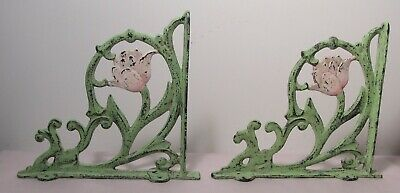 "Pair of 9 1/2"" x 10 3/4"" Antiqued Cast Iron Garden or Book Shelf Brackets"