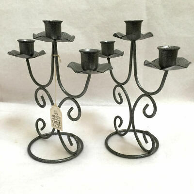 Pair Art Deco Wrought Iron Candelabra 3 Candle Holder Set of 2 New Brite Lite