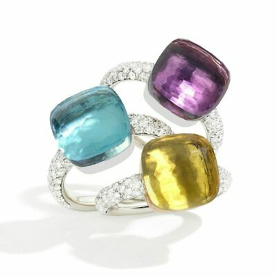 SLJELY High Quality 20 Kinds Colorful Candy Faceted Square Crystal Nudo Ring 3