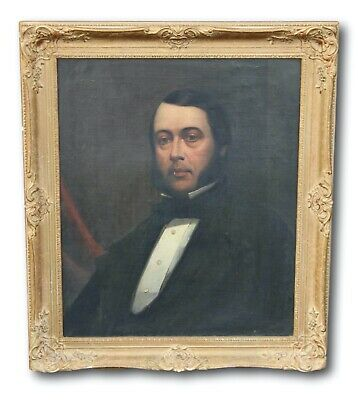 Large Antique 19th Century Victorian Oil Painting - Portrait of a Gentleman