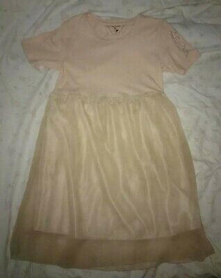 Phille Mille Girls pale Apricot Pink Dress Size EUR 122/128cm age 7-8 years