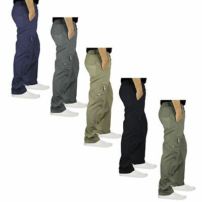 Mens Elasticated Waist Cargo Combat Trousers Lightweight Multi Pockets Pants