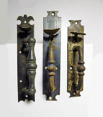 Grouping of 3 Early 1800's Old Wrought Iron Norfolk Style Thumb Latch Handles