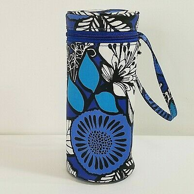 VERA BRADLEY Water/Baby Bottle Carry Bag Blue Bayou Waterproof Blue White Floral