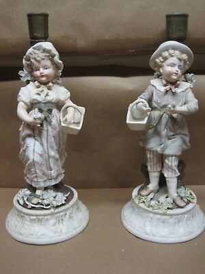 ANTIQUE Candlesticks SITZENDORF PORCELAIN  GIRL & BOY WITH FLOWERS