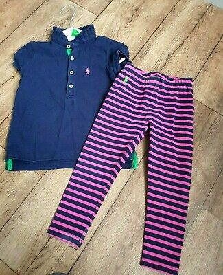 Girls Ralph Lauren Polo Shirt and Leggings Set 3T Suits 2-3 Years