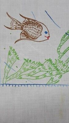 """Vintage White Embroidered Tablecloth with Swimming Fish Aqua Plants 31"""" x 32"""""""