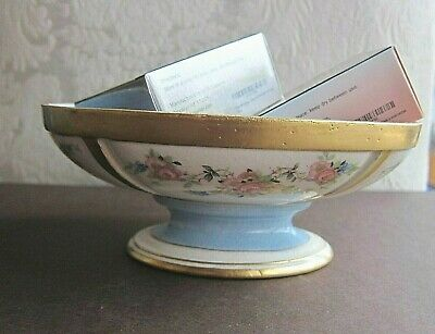 Antique Footed Oval Small Bowl Bon Bon~Soap Dish~Baby Blue/Gold Flowers~Marked G