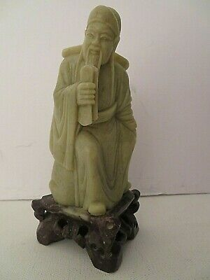 Carved Statue Figurine Wiseman With Scroll Antique Chinese Asian Mint Soapstone