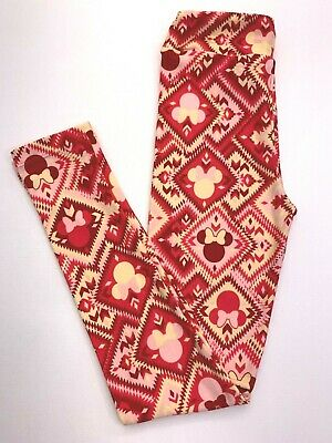 Lularoe Leggings KIDS L/XL Minnie Mouse pink, red, and yellow aztec pattern