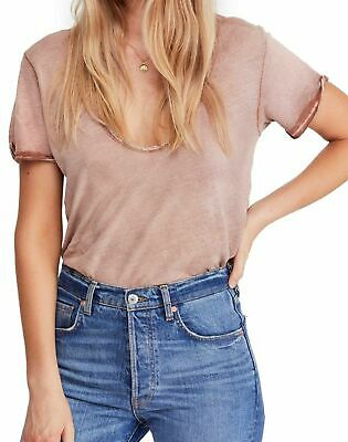 NWT Free People Saturday Lace Trim Linen Blend Tee Retail $58