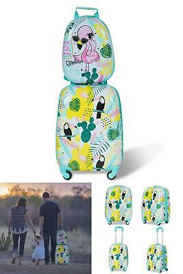 """2 Pcs Kids Cute Carry On Luggage Set 12"""" Backpack &16"""" Rolling Suitcase Travel"""