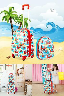 """2 Pcs 12"""" &16"""" Kids Rolling Suitcase Backpack Carry On Luggage Set Travel School"""