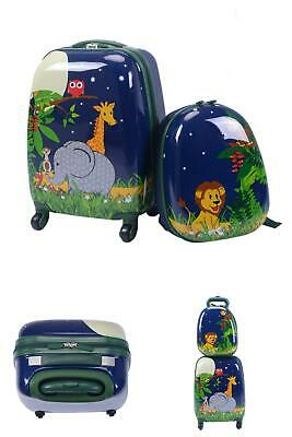 """2 Pcs 12"""" 16"""" Kids Rolling Suitcase Backpack School Travel Carry On Luggage Set"""