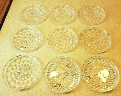 "Vintage Set of 9 Crystal Clear Coasters (2 Designs) 3 1/2"" Diameter Wine Glass"