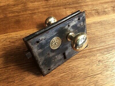 Old No. 60 Carpenter Door Lock -  Unique Handle - Paint Removed, Brass Polished