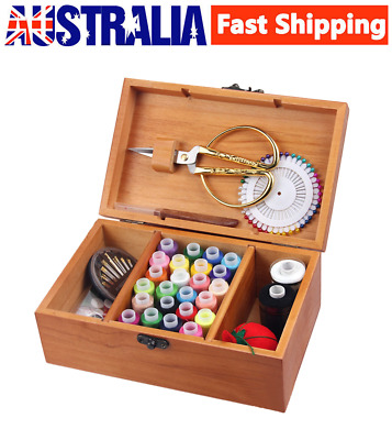Wooden Sewing Storage Basket Box Gift Set Sewing Tool Kit Accessories Case AU