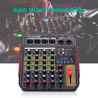 4Channel DJ Sound Mixer BT Professional Live Studio Audio Mixing Console US V1W8