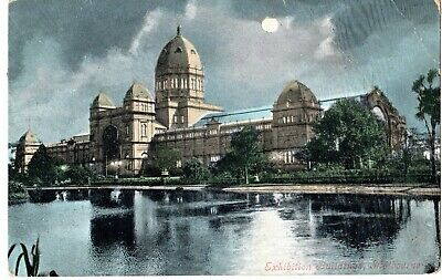 Antique colour nighttime Postcard, The Exhibition Buildings Melbourne Victoria