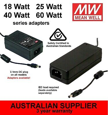 GST25A Power Supply/Adapter 25W 5V 7V 9V 12V 15V 18V 24V 28V 48V DC - Meanwell