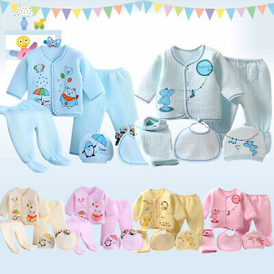 Soft Cotton Winter Baby Boy Girl Newborn 5Pcs Outfit Infant Clothing Bibs Tops