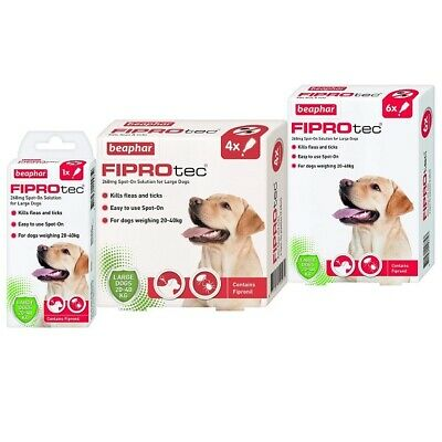 Beaphar FIPROtec Flea & Tick Spot On Treatment for Large Dogs - 1, 4, 6 Pipettes