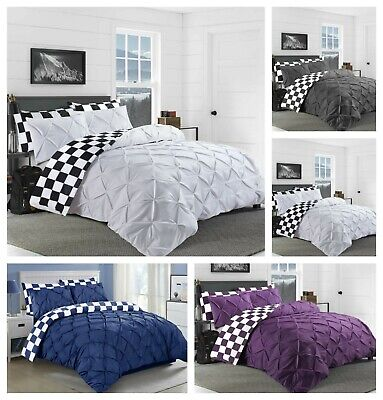 Pintuck Duvet Cover Set Pinch Pleated Chess Print Reversible Bedding Set Cotton