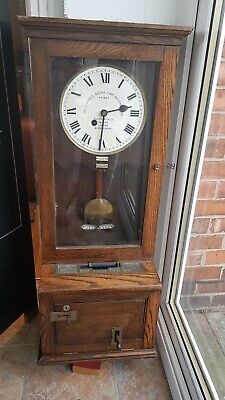 Gledhill Time Recorder clocking in wall clock with good working movement